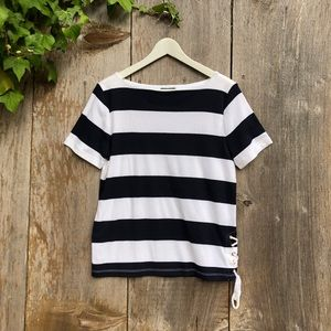 CHAPS black white nautical stripe cotton Tee